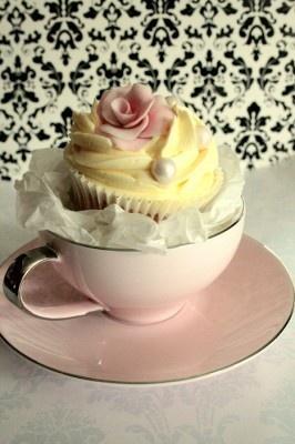 Cupcakes in tea cups.  .
