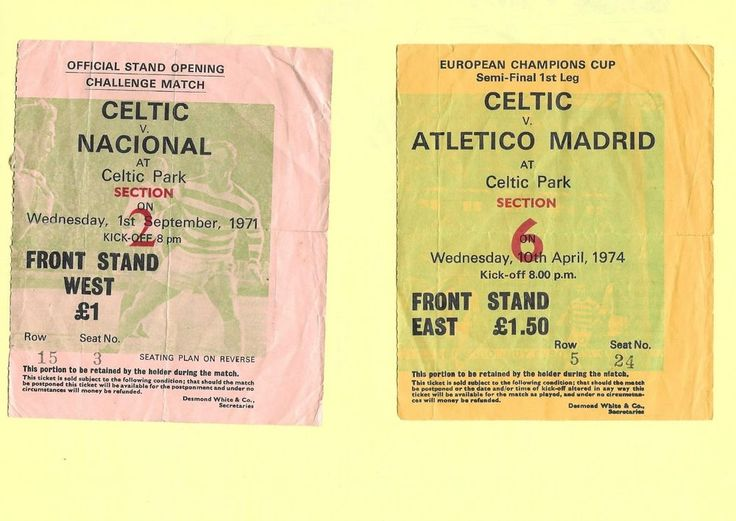 GLASGOW CELTIC v ATLETICO MADRID  TICKET EUROPEAN CUP 1974