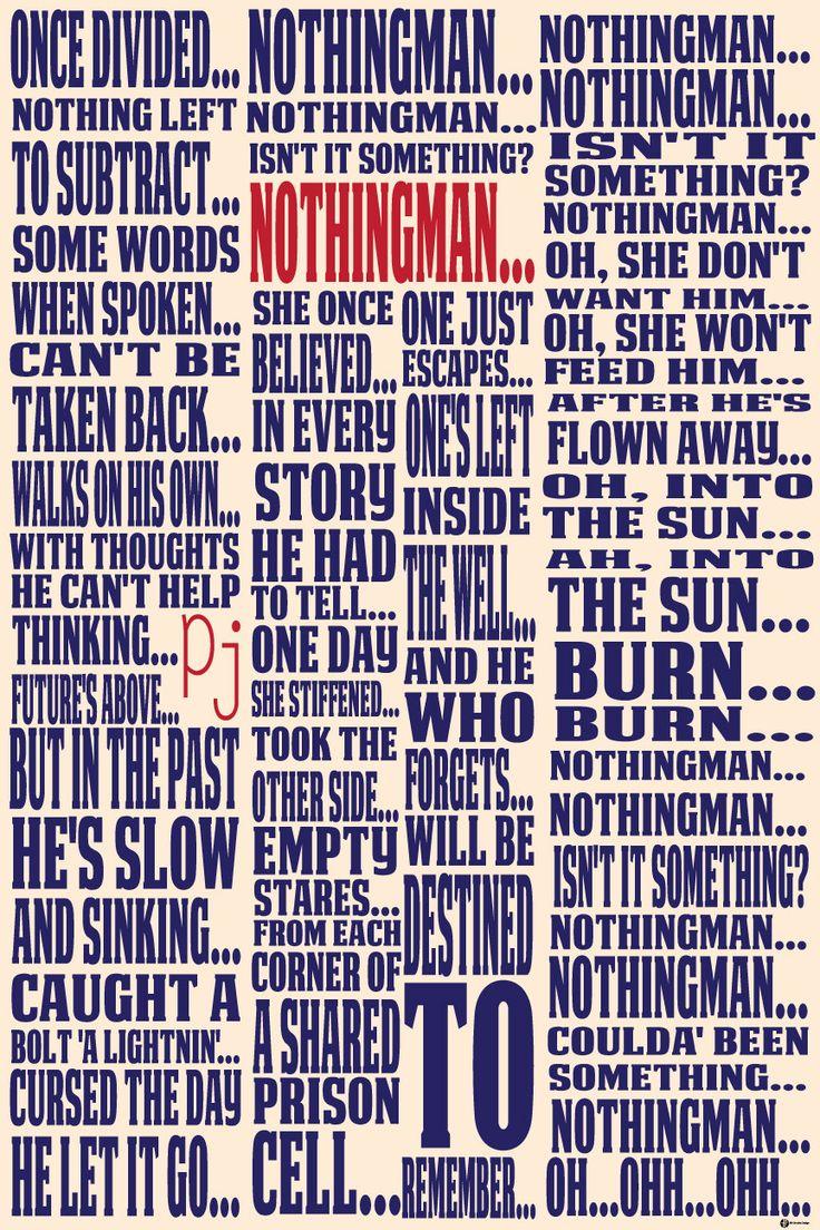 Pearl Jam's Nothingman Lyric Typography Fine Art Poster Print Lyrics Typography Seattle music