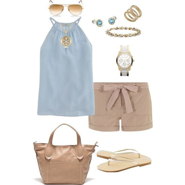 Gold summer outfit - Polyvore