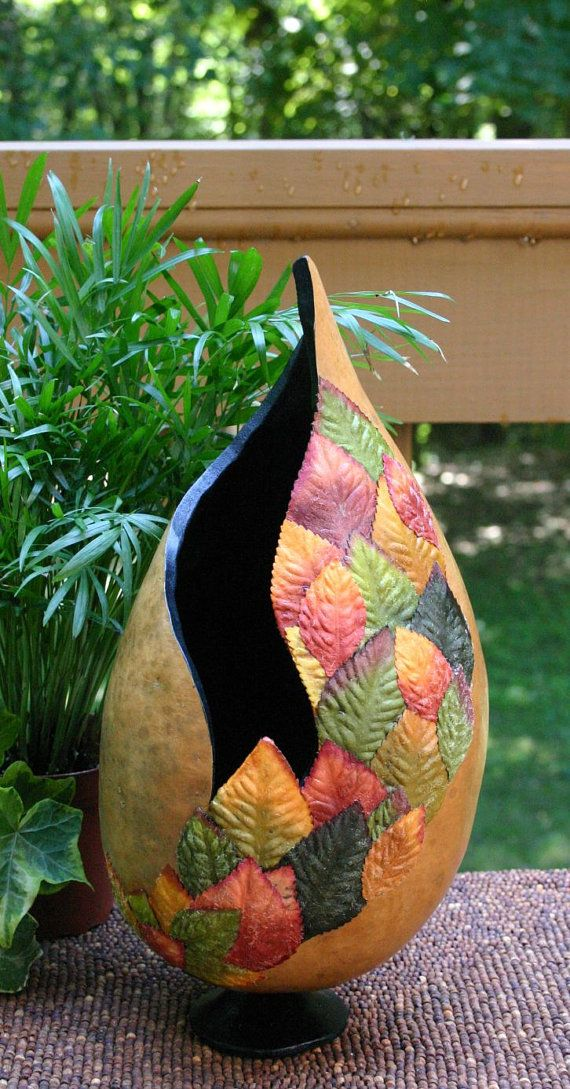 Rustic Gourd Vase Nature Inspired Colorful Leaf by myladyofgourds, $48.00