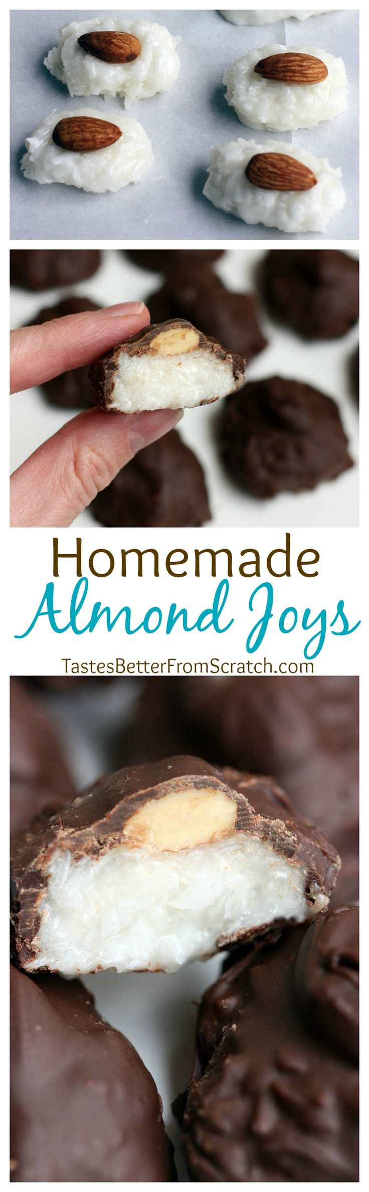 Homemade Almond Joys are a super easy candy to make and one of our favorites! Coconut, almonds, and chocolate come together in the best easy treat--great for gifts and for a fun holiday treat! | Tastes Better From Scratch