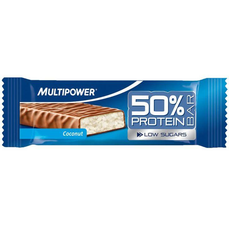 Multipower 50% Protein Bar, bir barda 25 gr protein, 12,5 gr karbonhidrat içeren, düşük yağ ve şeker seviyesine sahip protein bar, supplement ürünüdür. Multipower Protein Bar zengin protein içeriği sayesinde antrenman sonrası yenilenme ve kas yapımı için yardımcı olabilir. Bir kutuda 24 adet protein bar içerir.