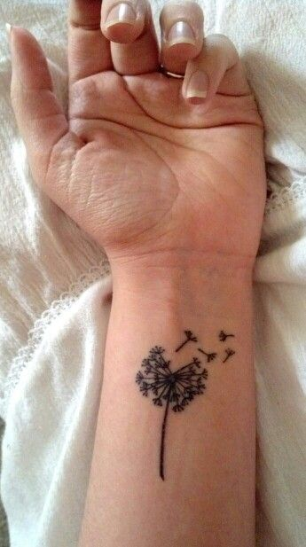 Dandelion tattoo / feminine tattoo / wrist tattoo / tattoos symbolizing family / tattoos for girls / small tattoo