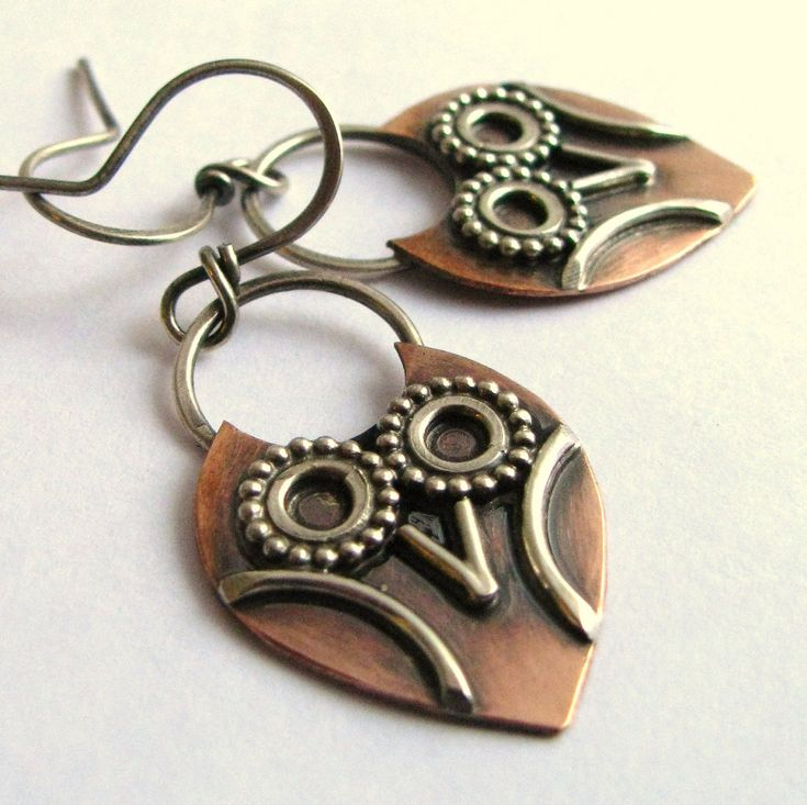 Little Owl Earrings - Sterling Silver And Copper Artisan Jewelry - Mixed Metal Owl Jewelry