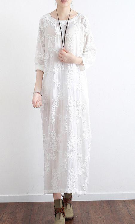 be79d1124d new white embroidery cotton dresses plus size loose sundress vintage long  sleeve maxi dress  vintageclothing