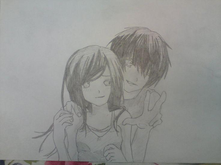 cartoon hugging couple | Cute Anime Couple Drawings Easy ...