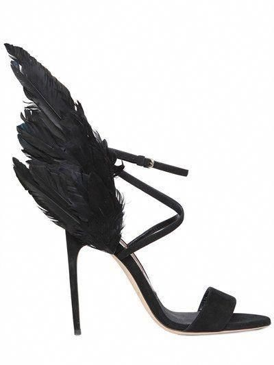 716c1b2ed09 BRIAN ATWOOD 110Mm Dark Angel Feather   Suede Sandals