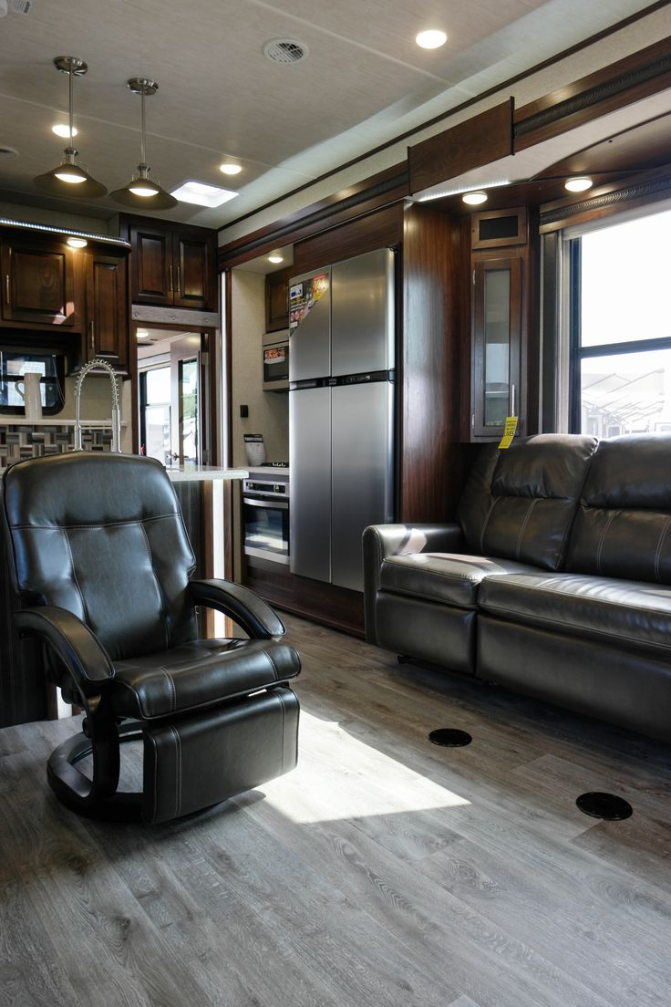 This Triple Axle Luxury Toyhauler Offers A 13 Garage Perfect Tv Placement Plenty Of Seating For The Whole Family U Shaped Kitchen Outdoor