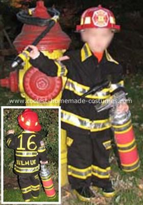 Fireman Costume: My 2 year old son is infatuated with firetrucks and firefighters. He has 2 of his very own volunteer firefighters in his family, so coming up with an idea