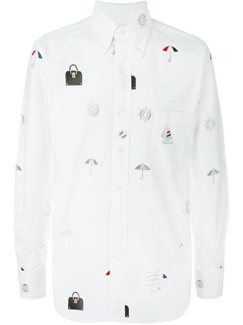 THOM BROWNE Multi-Print Button-Down Shirt. #thombrowne #cloth #shirt
