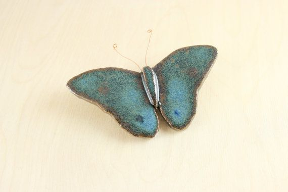 Ceramic Butterfly Wall Hanging - Spring Decor - Ceramics and Pottery - Nature Art via Etsy