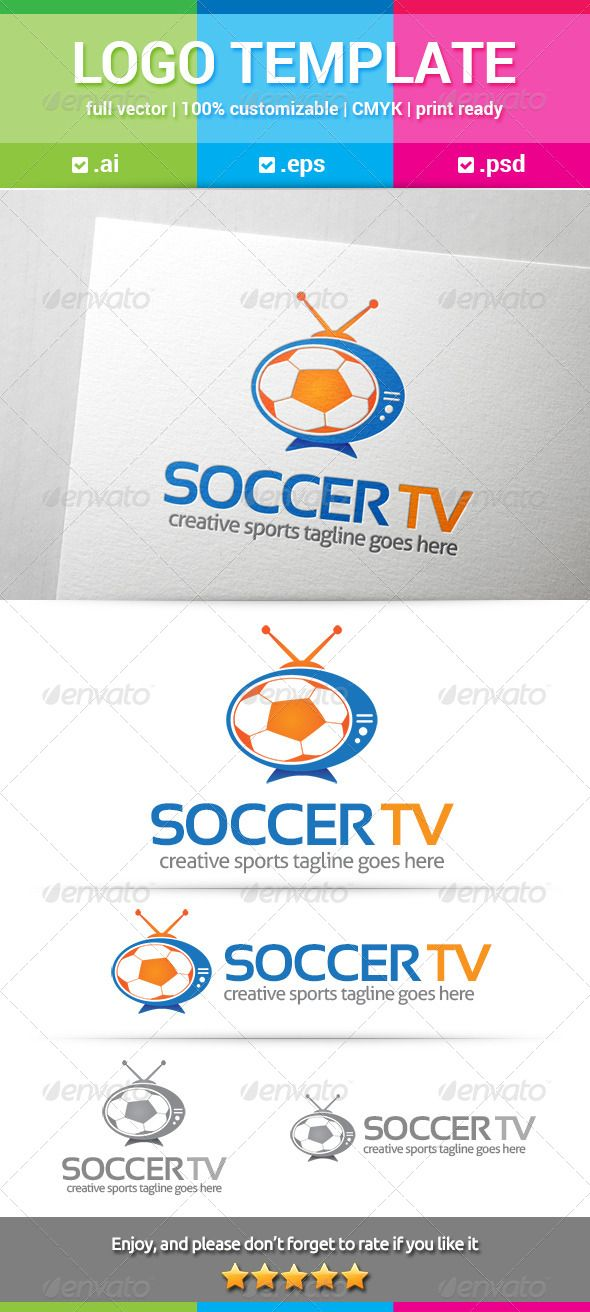 Soccer TV Logo — Photoshop PSD #football #tv • Available here → https://graphicriver.net/item/soccer-tv-logo/7912675?ref=pxcr