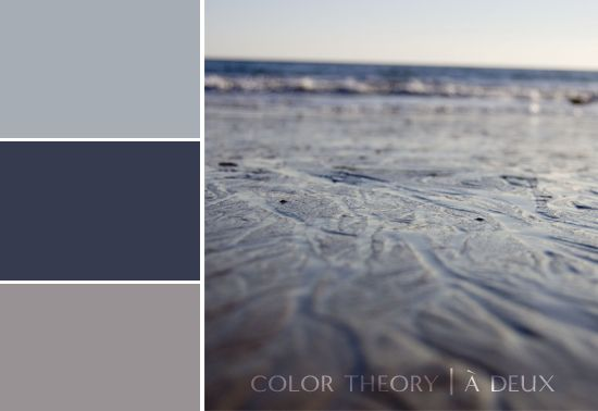 Beach grays: This cloudy blue, dark slate and light gray all have a hint of gray to them which makes them work together really well. Any winter wedding would benefit from this color palette. But, if you're headed to the beach, this could also work with a sandy yellow thrown in there for a perfect non-traditional beachy feel.