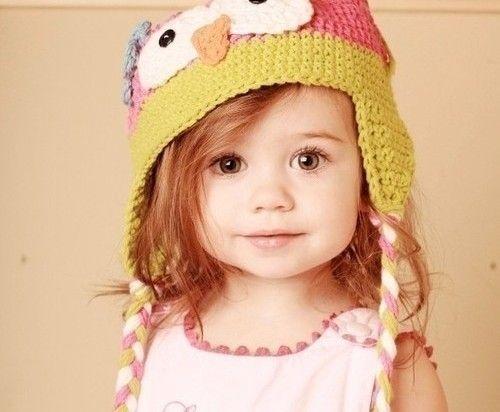 Too cute...Lil Doll.Crochet Ideas, Little Girls, Owls Hats, Red Hair, Baby Owls, Crochet Owls, Baby Girls, Owlhat,  Poke Bonnets