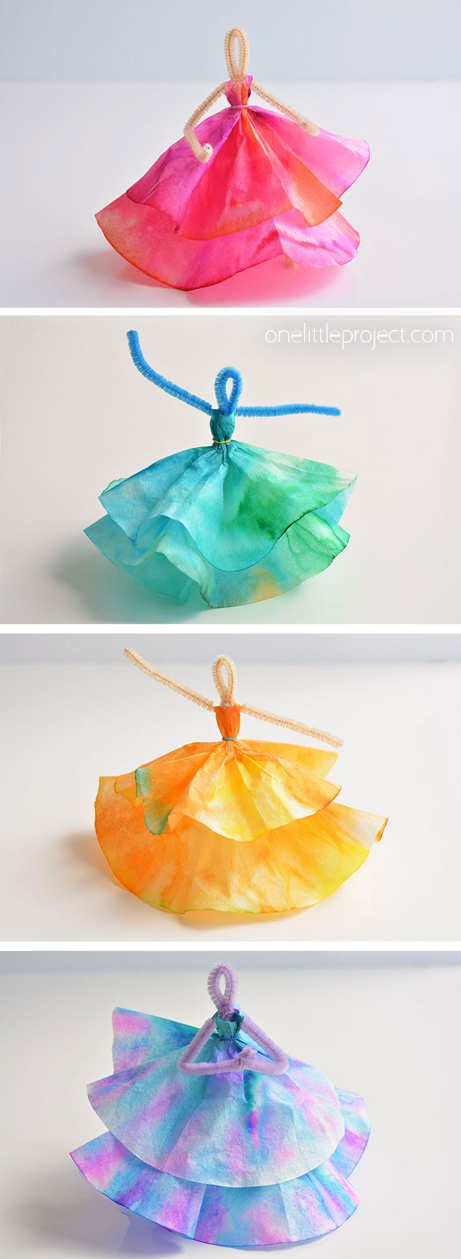 How to Make Coffee Filter Dancers | Coffee filter crafts ...