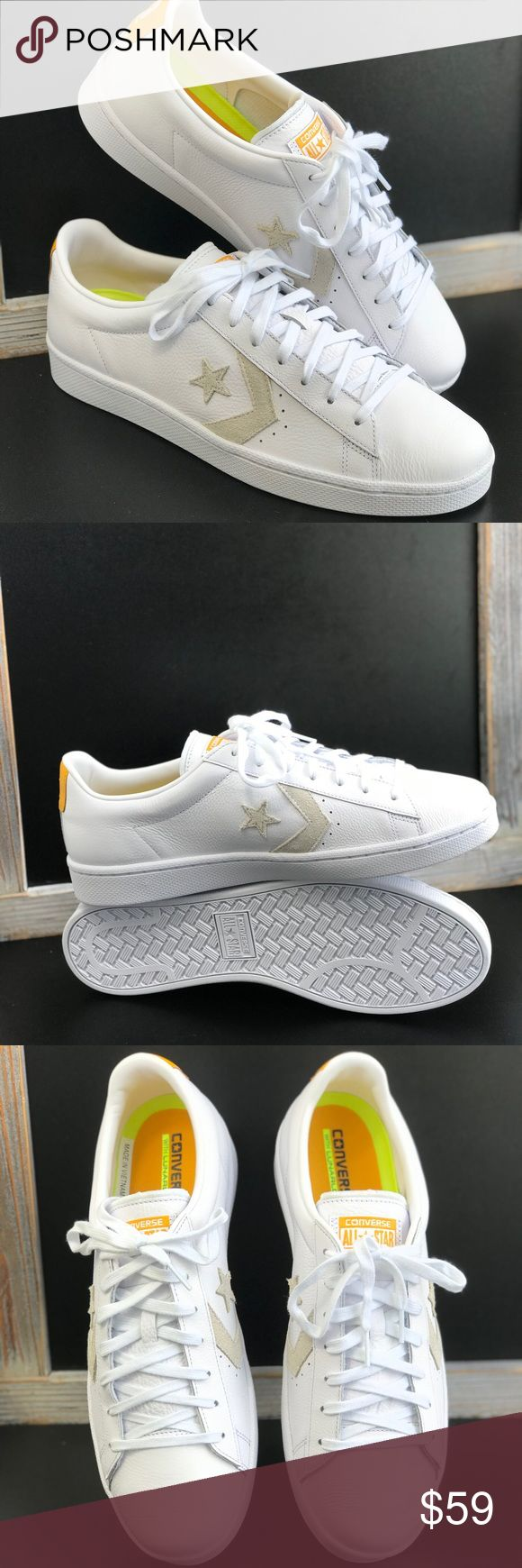Converse Pro Leather OX White LT M AUTHENTIC Brand new with box. 💥Price is firm!💥 no trades. Size 10,5 -no lid box. Updated pro leather shape and branding.  Lunarlon sockliner for superior cushioning. Rubber outsole provides traction and durability. Runs true to size. Converse Shoes Sneakers