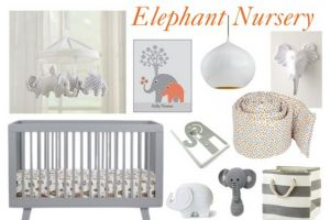 Create a sweet, elephant-themed nursery - light switch cover is my favorite and probably could be a DIY