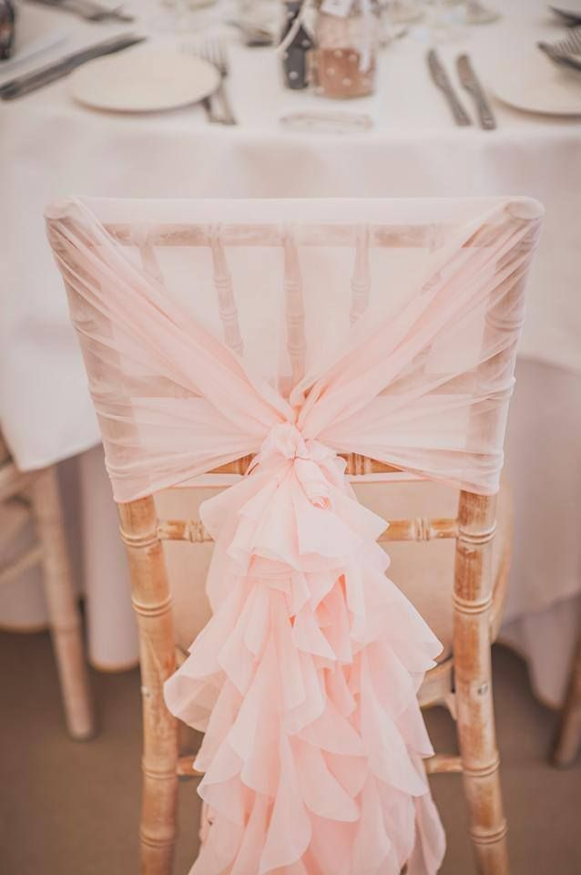 Blush Pink Ruffle Hoods at the Elvetham Hotel, Hampshire. Chair Cover ideas. Chair Sashes. Wedding ideas. Venue decorations. Set-up by Ellis Events.