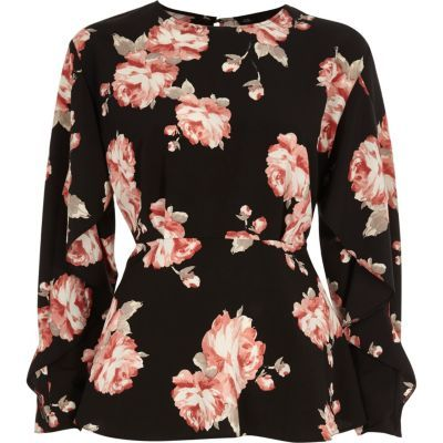 Womens Black floral frill sleeve blouse