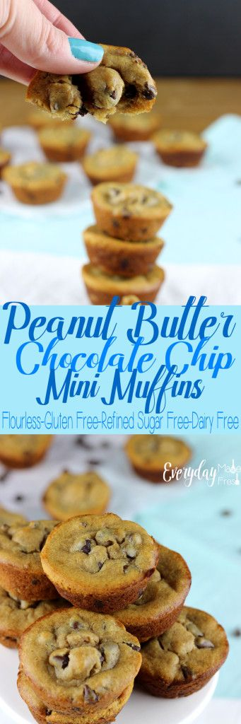 These Peanut Butter Chocolate Chip Mini Muffins are sweetened with honey, gluten free, and dairy free! They are made in a blender for a easy clean-up, and bake in less than 10 minutes. https://www.everydaymadefresh.com/peanut-butter-chocolate-chip-mini-muffins/