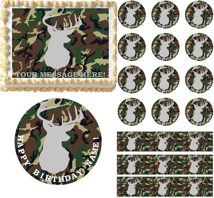 Camouflage Deer Hunting Camo Edible Cake Topper Image Frosting Sheet-All Sizes! #ProfessionalBakeryQuality