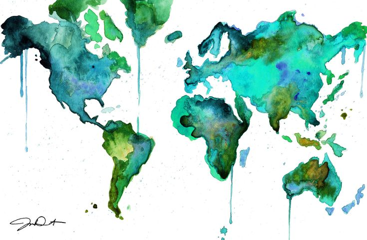 """Watercolor World Map No. 6."" by Jessica Durrant.  Her work is gorgeous.  WILL be getting this for my living room."