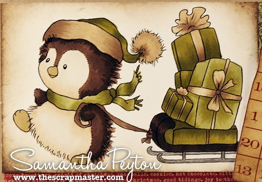 Vintage look w/ copics E40, E41, E42, E43, E44, E47, and E49 (for all the penguin fur, sled, fuzzy part of his hat, and ribbon on the presents) YG93, YG95, and YG97 (for the presents and his scarf and hat) Y28 (for his beak and feet) #12 AtYouSpica Glitter Pen (Silver) for the metal parts of the sled.