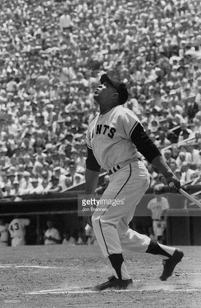 San Francisco player Willie Mays playing in the Giants-Braves game, 1958.