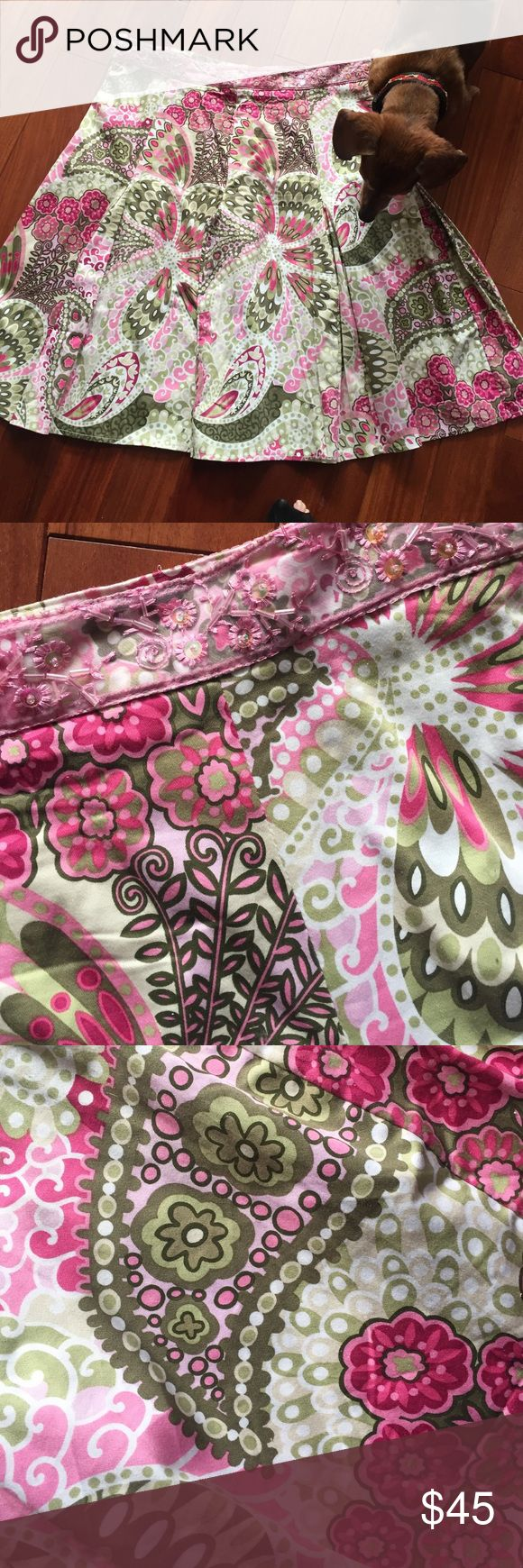 Beautiful floral stretch skirt Beautiful floral stretch cotton skirt with sequins & beading on the waistband. Skirts A-Line or Full