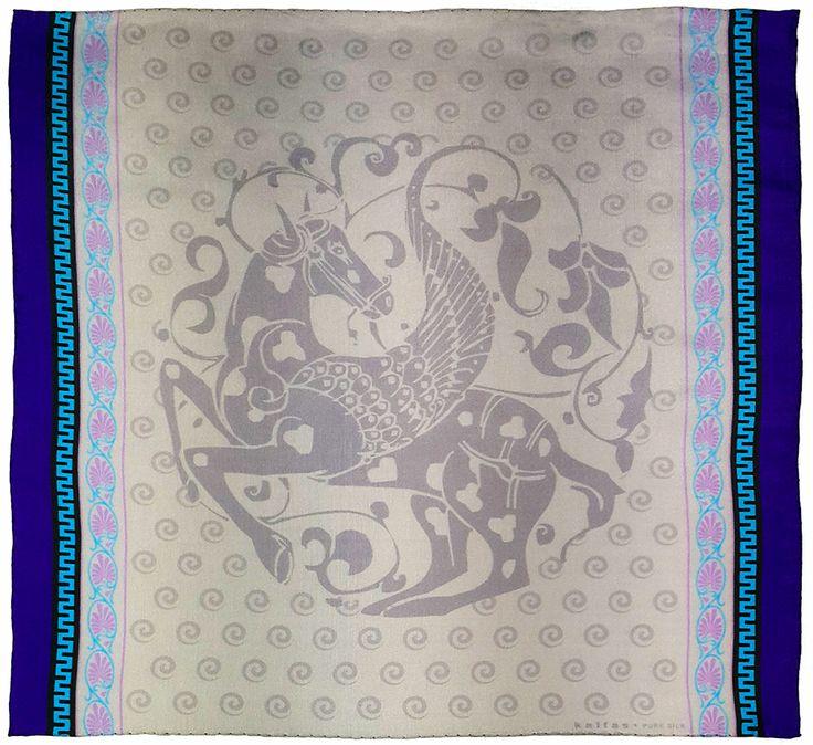 Fabric : 100% Pure Silk Type   : Foulard 7m/m Print   : digital Hand-rolled edges Dimensions  : 50x50cm / 19''x19'' Theme : Ancient Greek Motifs 17-50-103-Pal -Purple