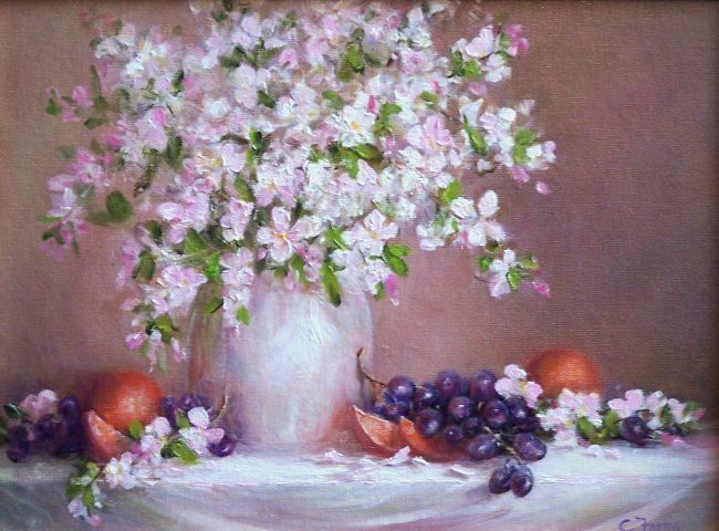 Apple Blossoms, 9x12, oil. Available.