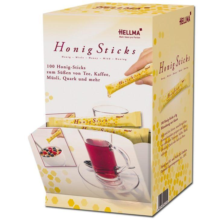 Hellma Honig-Sticks, Blütenhonig, Portionen, 100 Stück Kaffee Zum Frühstück Brotaufstrich