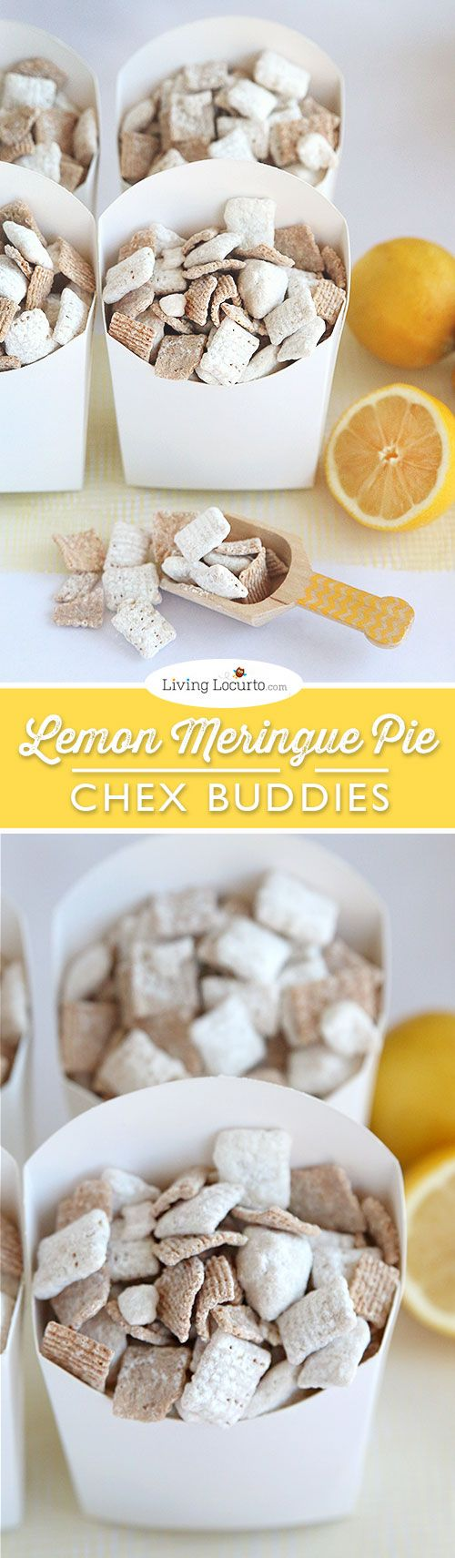 Lemon Meringue Pie Chex Party Mix Recipe. The best no bake Chex Buddies ever! LivingLocurto.com