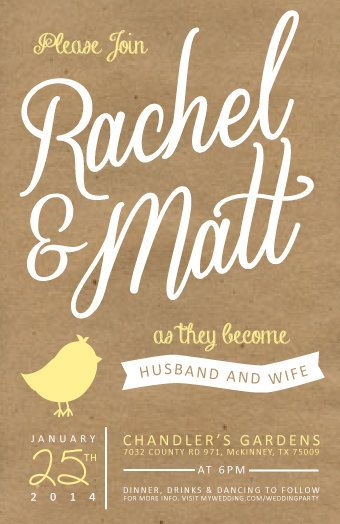 Kraft Paper Wedding Invitation via Etsy