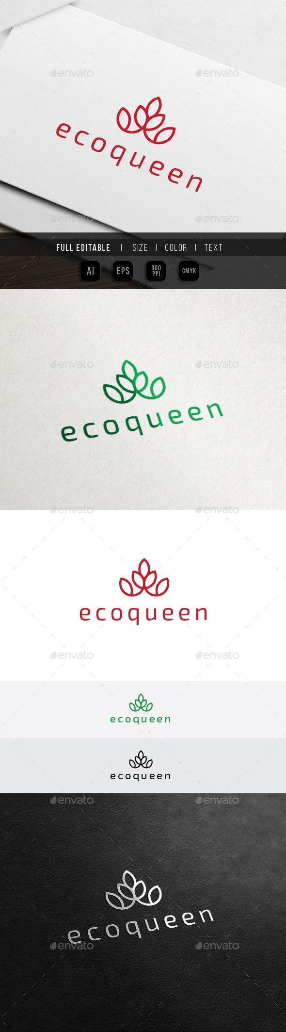 Eco Crown Hotel - Green Spa Resort Logo - Nature Logo Templates