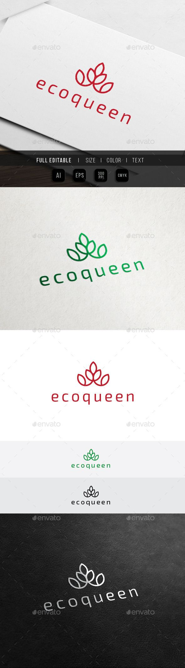 Eco Crown Hotel - Green Spa Resort Logo - Nature Logo Templates