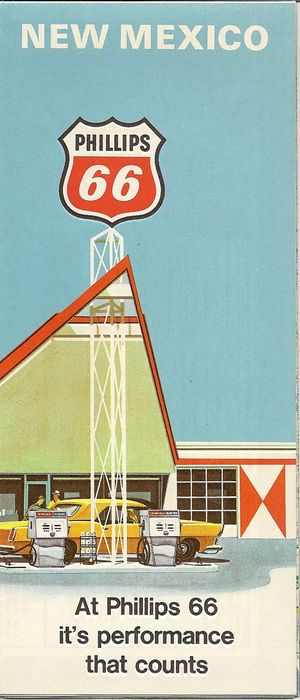Vintage New Mexico Road Map featuring Phillips 66