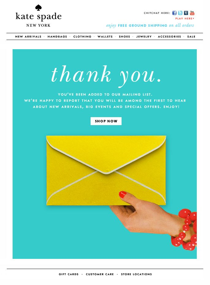 Kate Spade Thank You Email