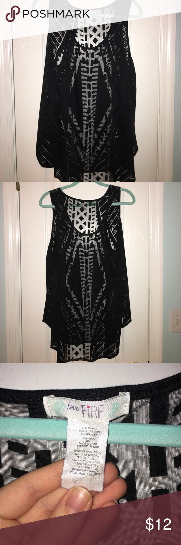 Black see-through tank top Black see-through tank top. Excellent condition. Worn once Love Fire Tops Tank Tops