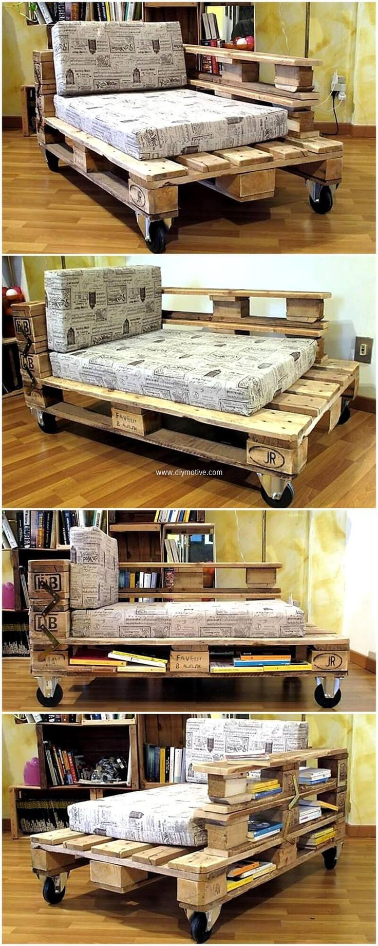 There is another amazing and wonderful craft of reused wood pallets for sitting purposes. Take wood pallets cut them into different dimensions then join them with the help of glue and nails. This inexpensive and easy to craft reused pallet daybed idea is providing utility and grace to your space.