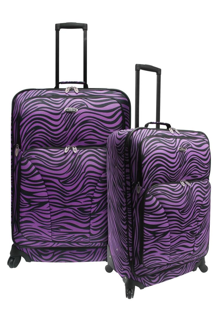 Purple Zebra Print Luggage.