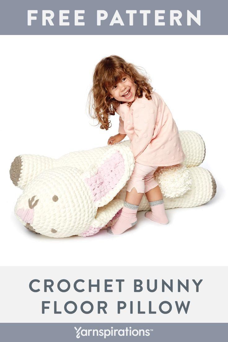 Free Crochet Bunny Pattern This Easy To Crochet Floor Bunny Pillow