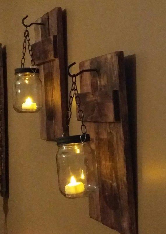 Rustic Home Decor Mason Jar Wood Candle Holders Set Of 2 Rustic