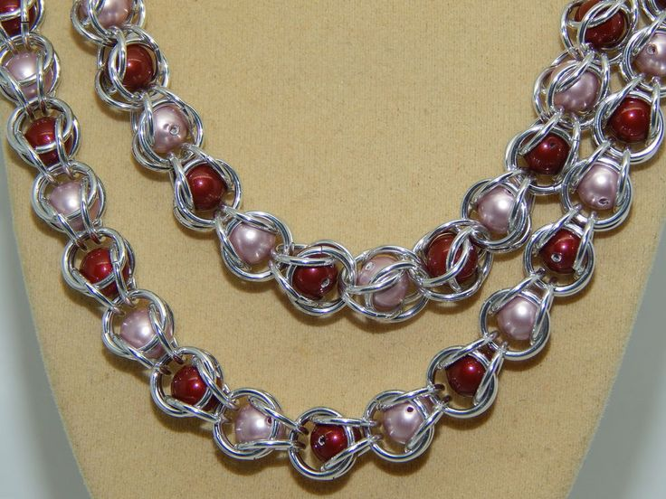 Hand-made Aluminium Chain Maille & 'Captured'  long Glass Pearls 3 peice set