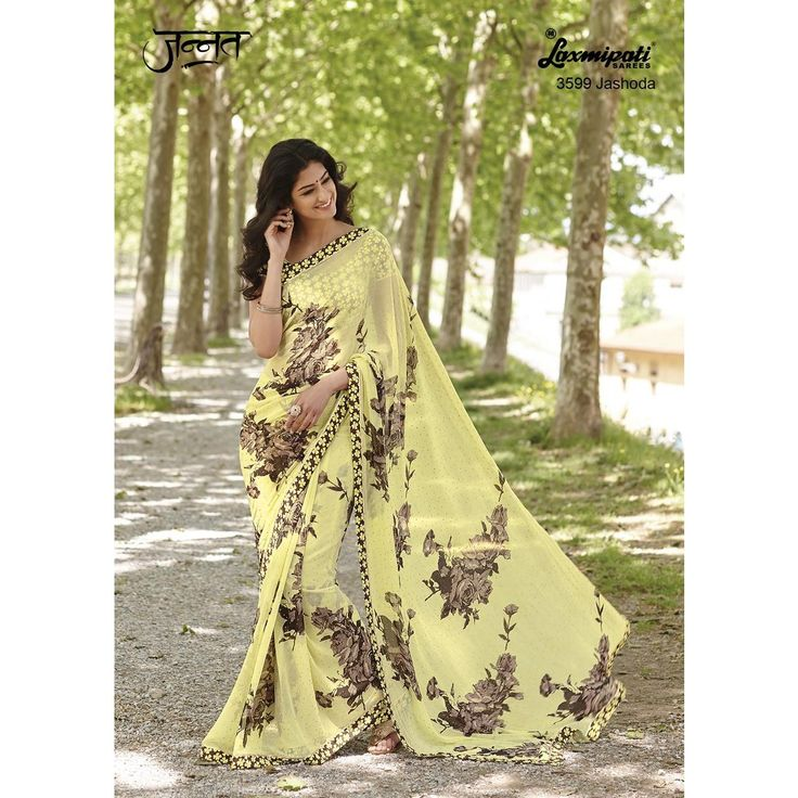 Laxmipati Georgette Designer Printed Saree in corn Yellow colour