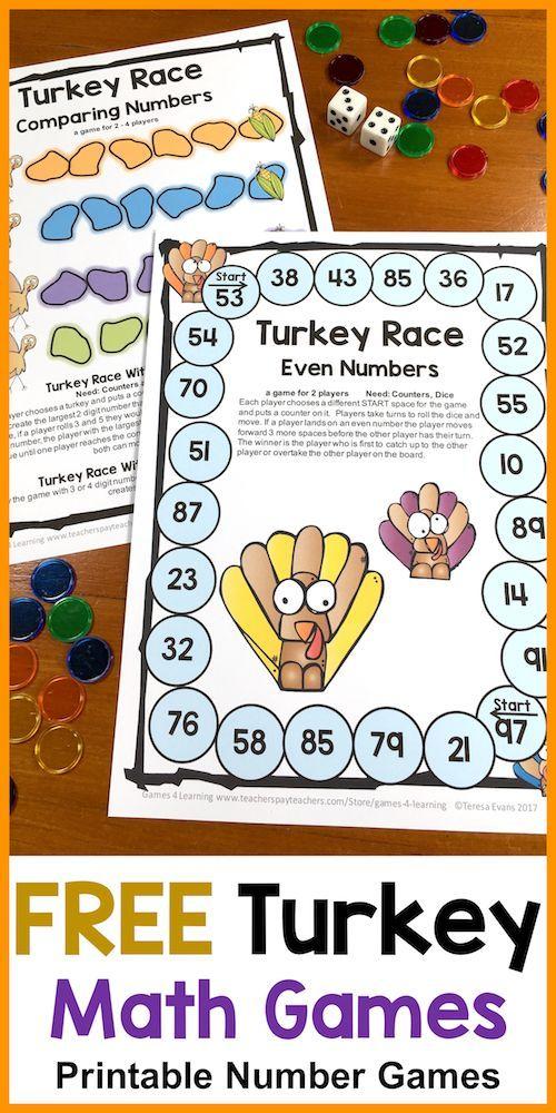 FREE Thanksgiving math games - NO PREP Games, just print and play - Thanksgiving math ideas
