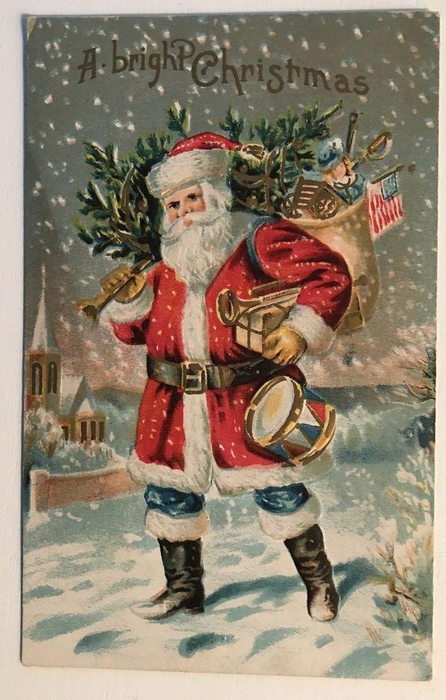 Amerikanische Weihnachtsgrüße.Patriotischer Weihnachtsmann Mit Amerikanischer Flagge Spielwaren