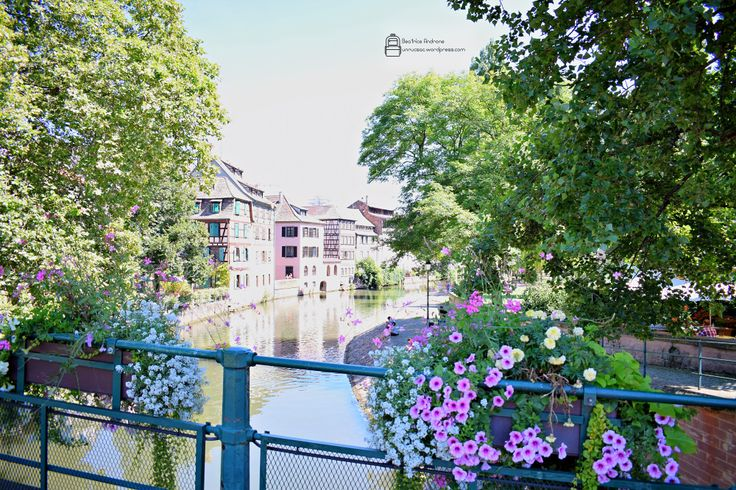 Petite France in Strasbourg, France. Beautiful canals, half-timbered houses, so much green and so many flowers