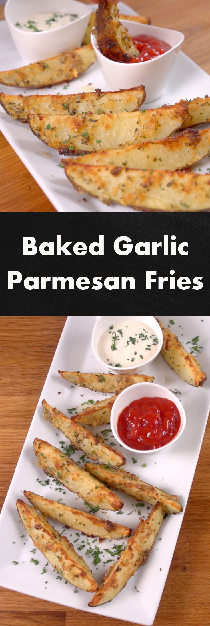 Baked Garlic Parmesan Fries | These fries are not only coated in a tantalizing mixture of seasoning and cheese, but they're baked, instead of deep-fried, for a slightly-healthier, crispy, golden taste. They couldn't be simpler to make or tastier;. Click for the video and recipe. #familydinner #healthycooking #sidedishes